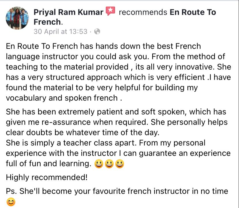 En Route To French - Review-Priyal