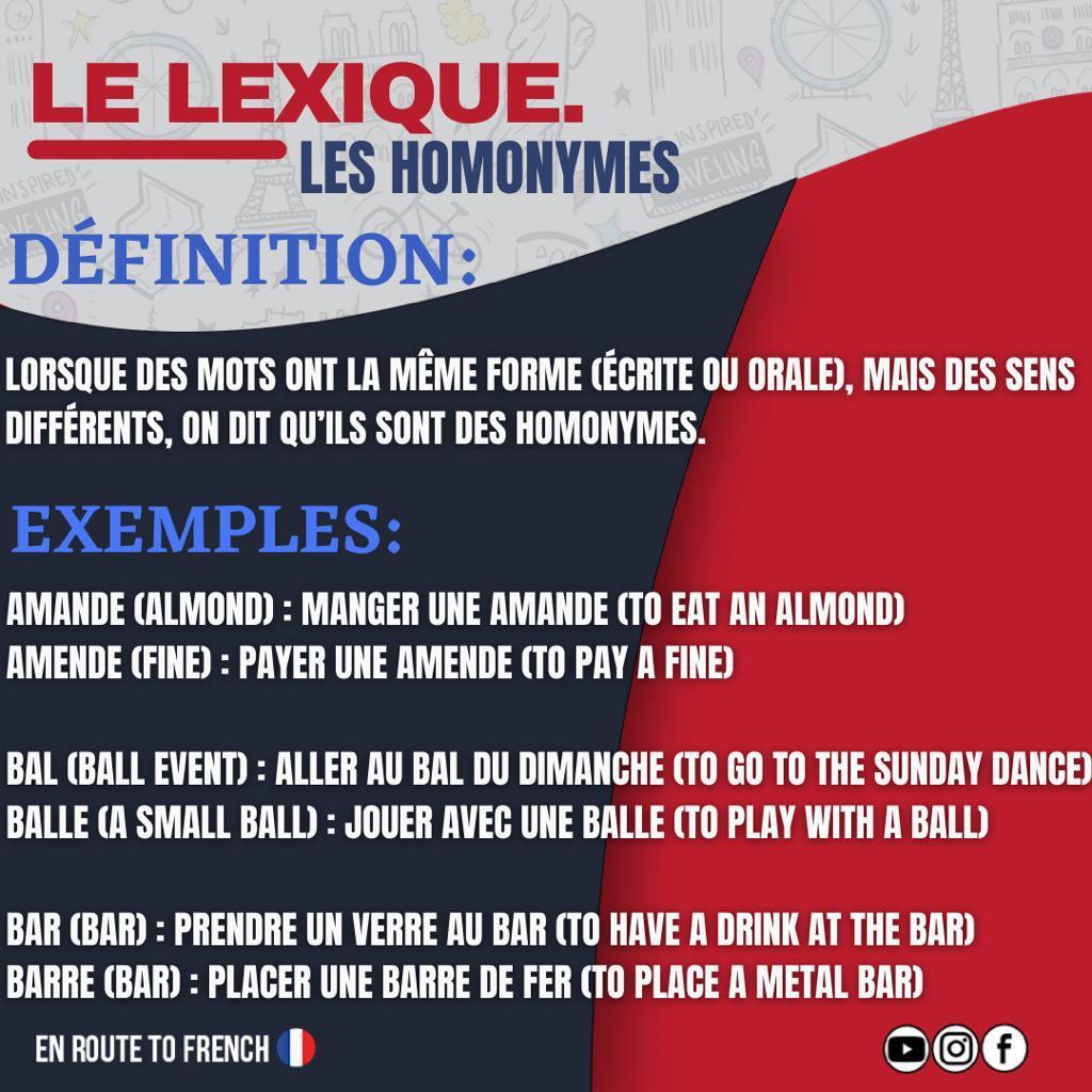 LE LEXIQUE - Les Homonymes-definition